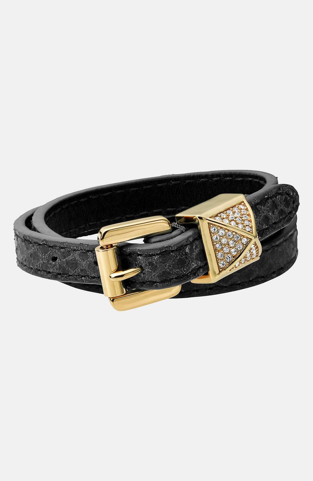 Alternate Image 1 Selected - Michael Kors 'Glam Rock' Leather Wrap Bracelet