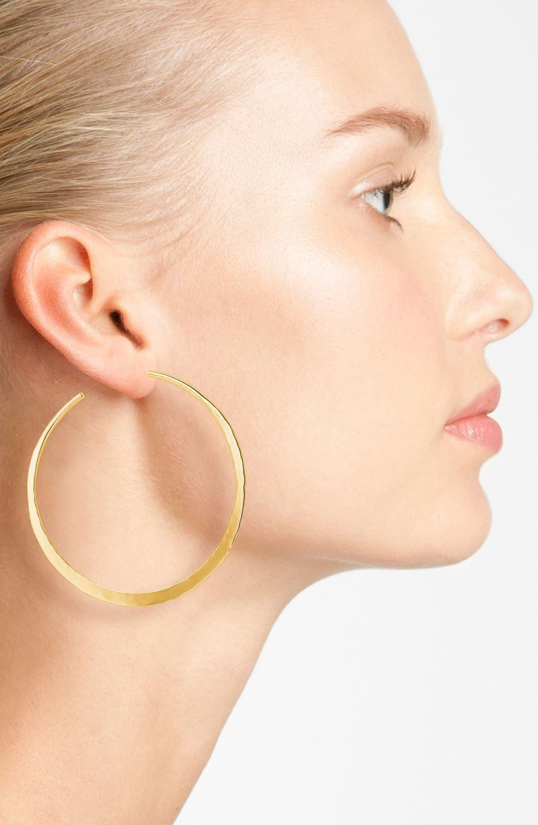 Alternate Image 2  - Argento Vivo Hammered Crescent Large Hoop Earrings