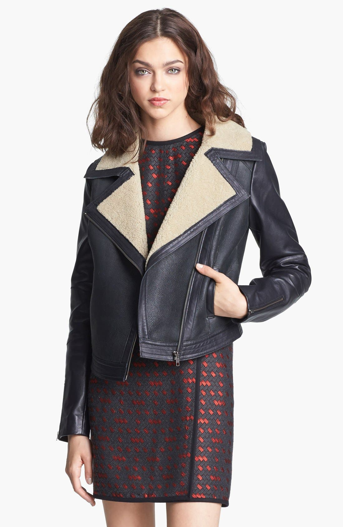 Main Image - Miss Wu Genuine Shearling Moto Jacket (Nordstrom Exclusive)