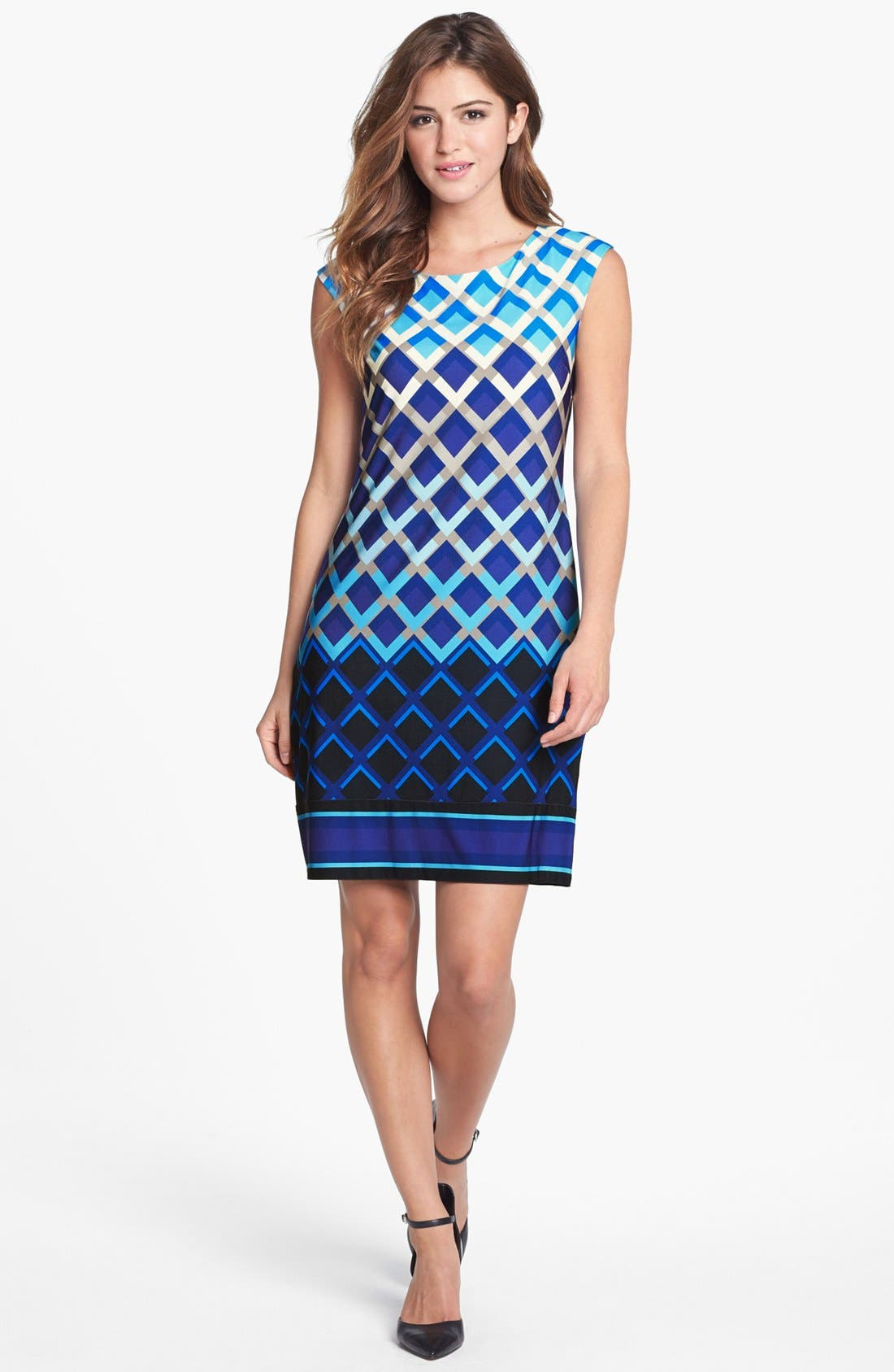 Alternate Image 1 Selected - Eliza J Print Jersey Shift Dress (Online Only)