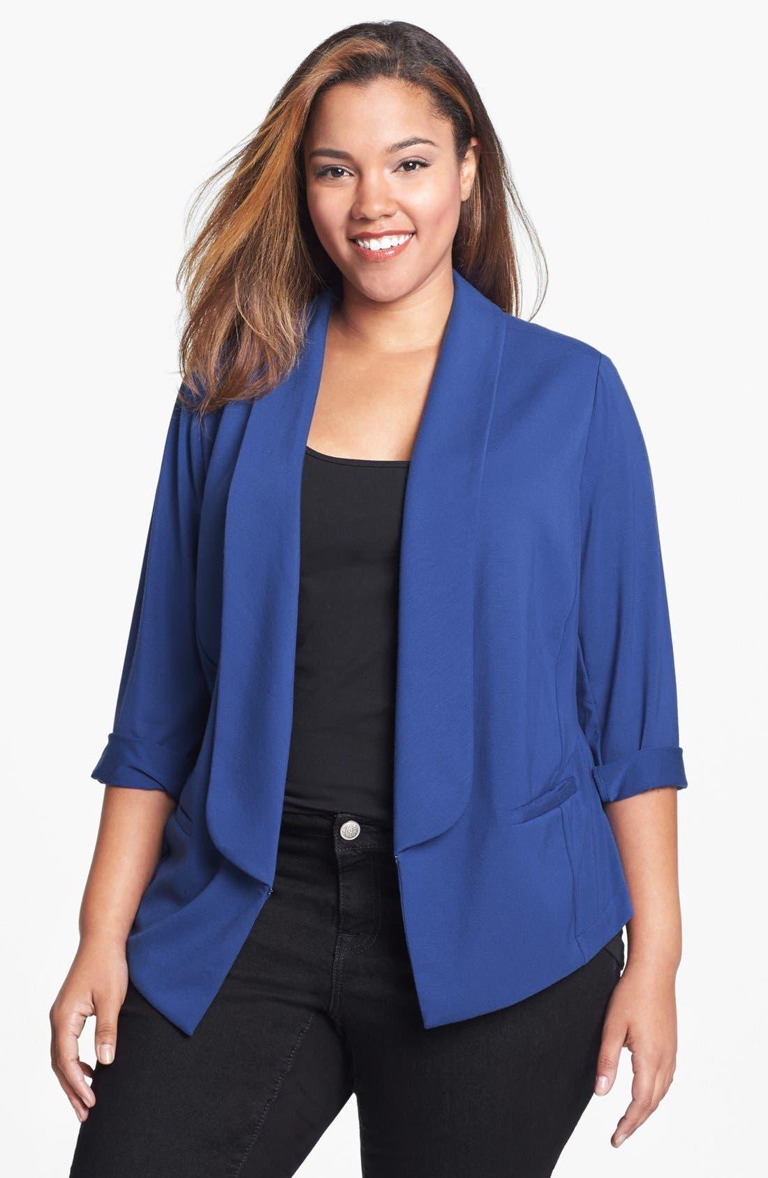 Alternate Image 1 Selected - Sejour 'Siro' Shawl Collar Jacket (Plus Size)