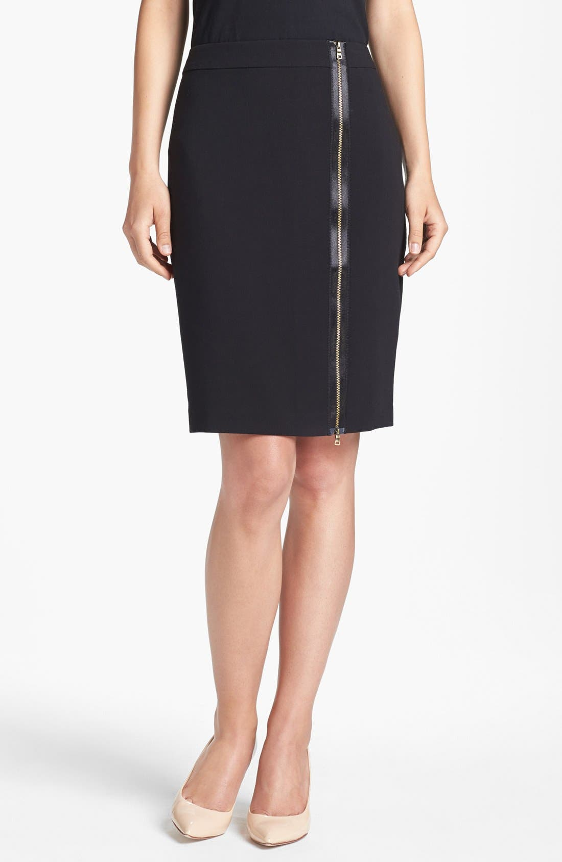 Alternate Image 1 Selected - Adrianna Papell Zip Front Slim Skirt