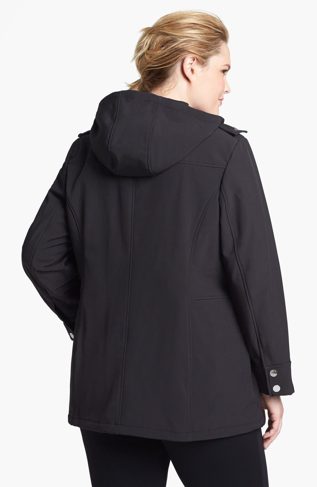 Alternate Image 2  - MICHAEL Michael Kors Hooded Faux Leather Trim Soft Shell Jacket (Plus Size)