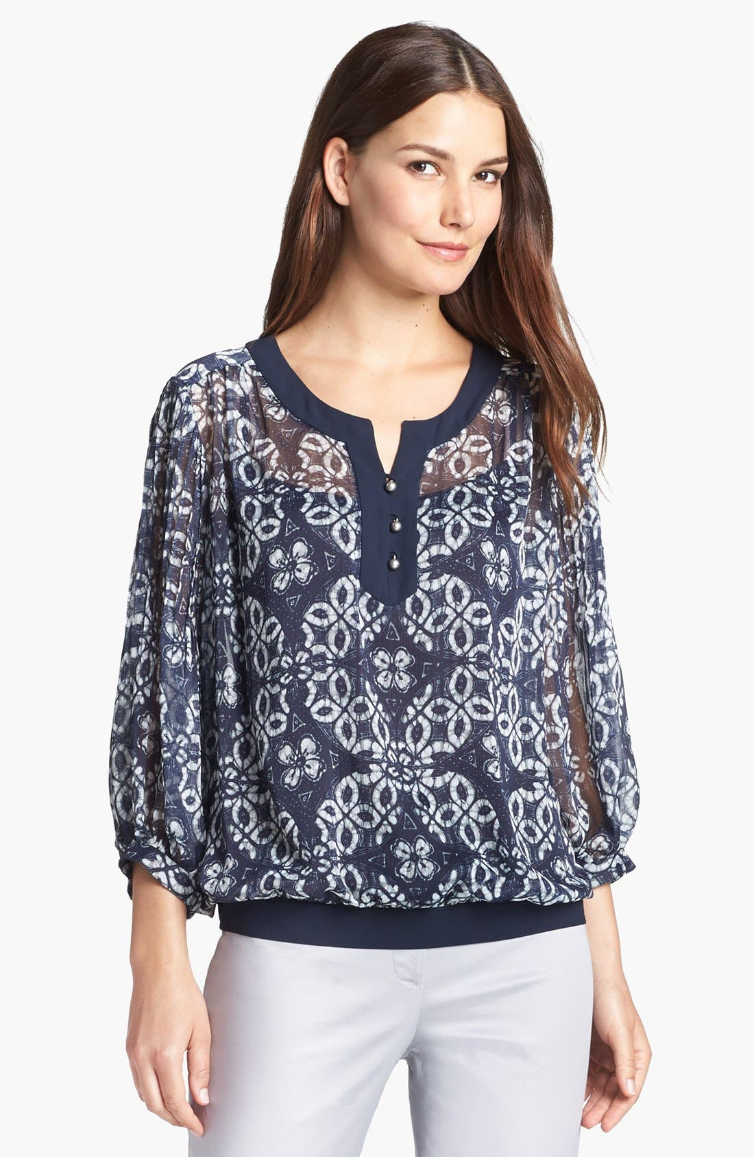 Alternate Image 1 Selected - Adrianna Papell Crinkled Chiffon Blouse with Camisole