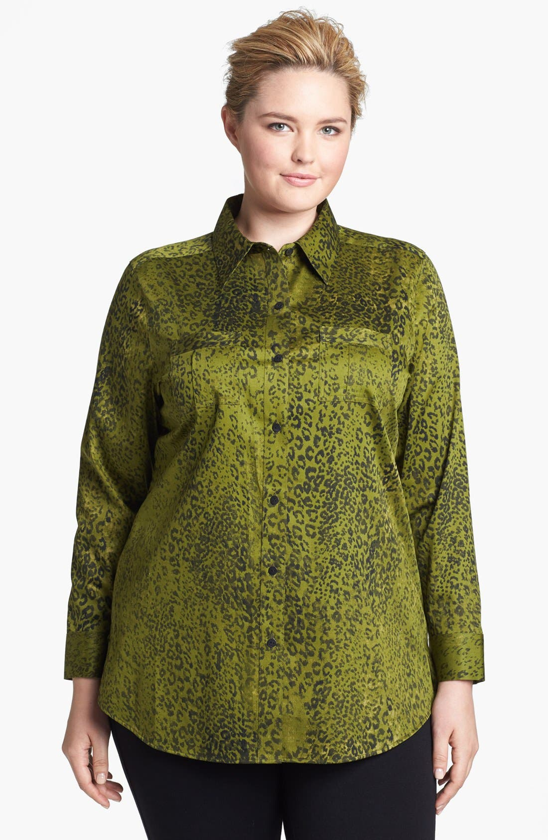 Alternate Image 1 Selected - Foxcroft 'Safari Leopard' Shaped Shirt (Plus Size)