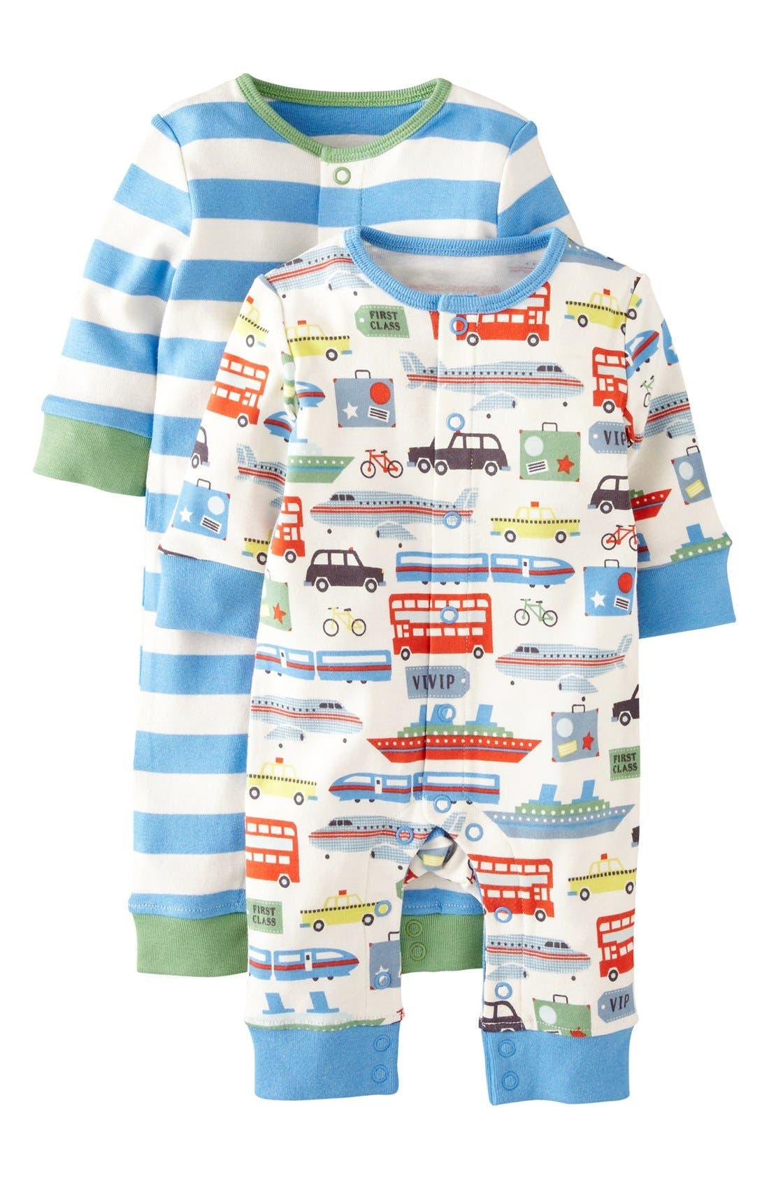Main Image - Mini Boden Print Romper (2-Pack) (Baby Boys)