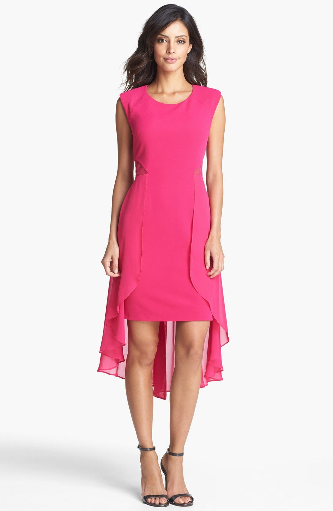 Main Image - Hailey by Adrianna Papell Cutout Chiffon Overlay Sheath Dress (Online Only)