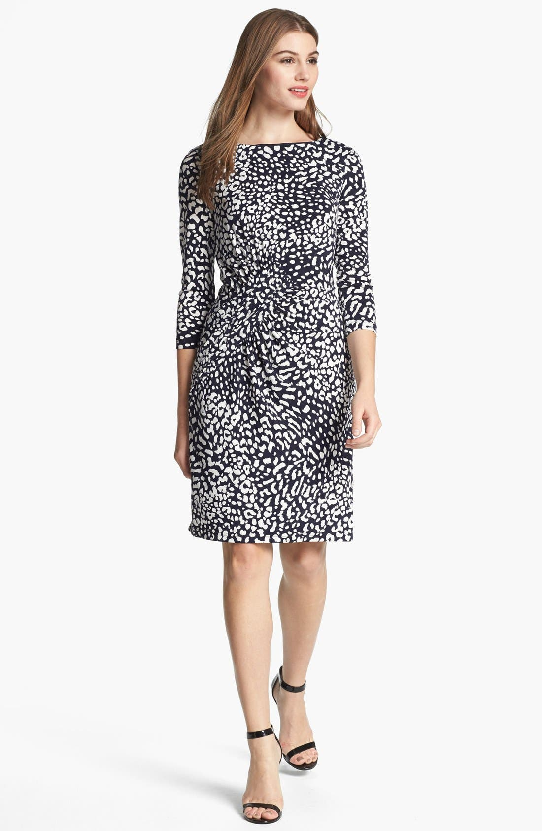 Alternate Image 1 Selected - Adrianna Papell Animal Print Ruched Sheath Dress (Plus Size)