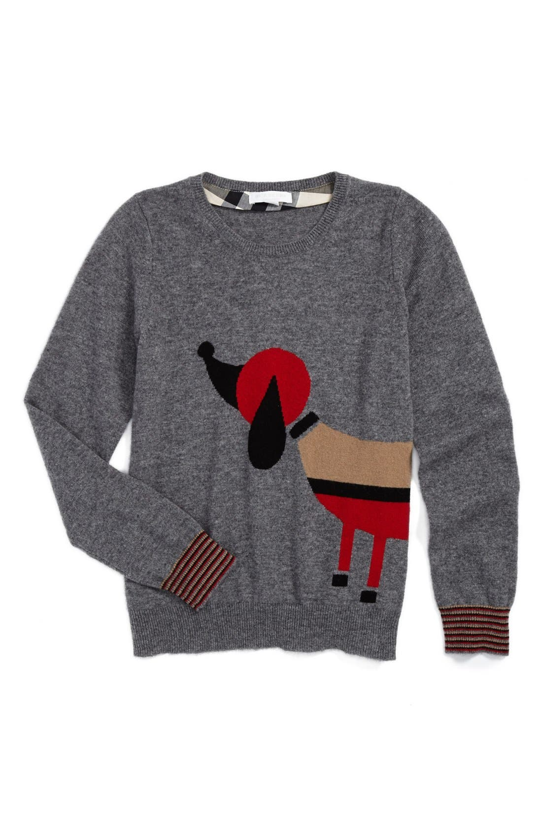 Alternate Image 1 Selected - Burberry Dog Sweater (Little Girls & Big Girls)