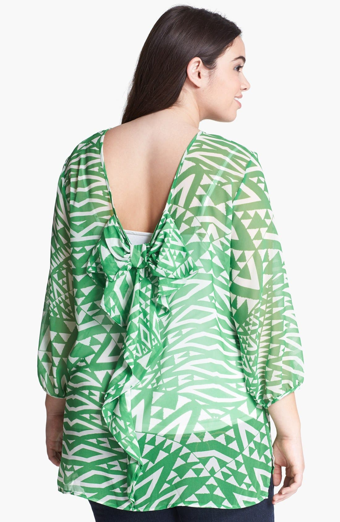 Alternate Image 2  - Sweet Pea by Stacy Frati Print Ruffled Top (Plus)