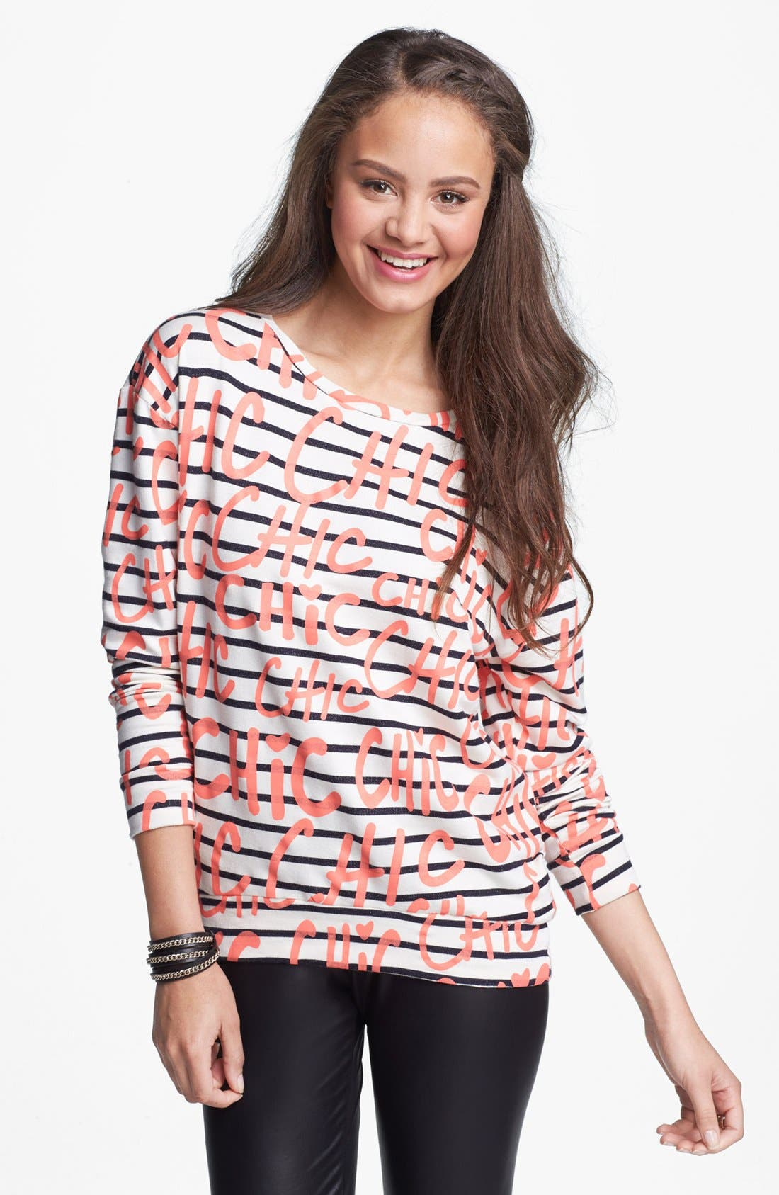 Alternate Image 1 Selected - Ten Sixty Sherman 'Chic' Stripe Sweatshirt (Juniors)