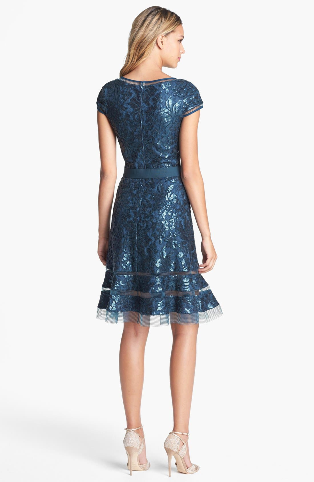 Alternate Image 2  - Tadashi Shoji Embellished Lace Fit & Flare Dress (Regular & Petite)