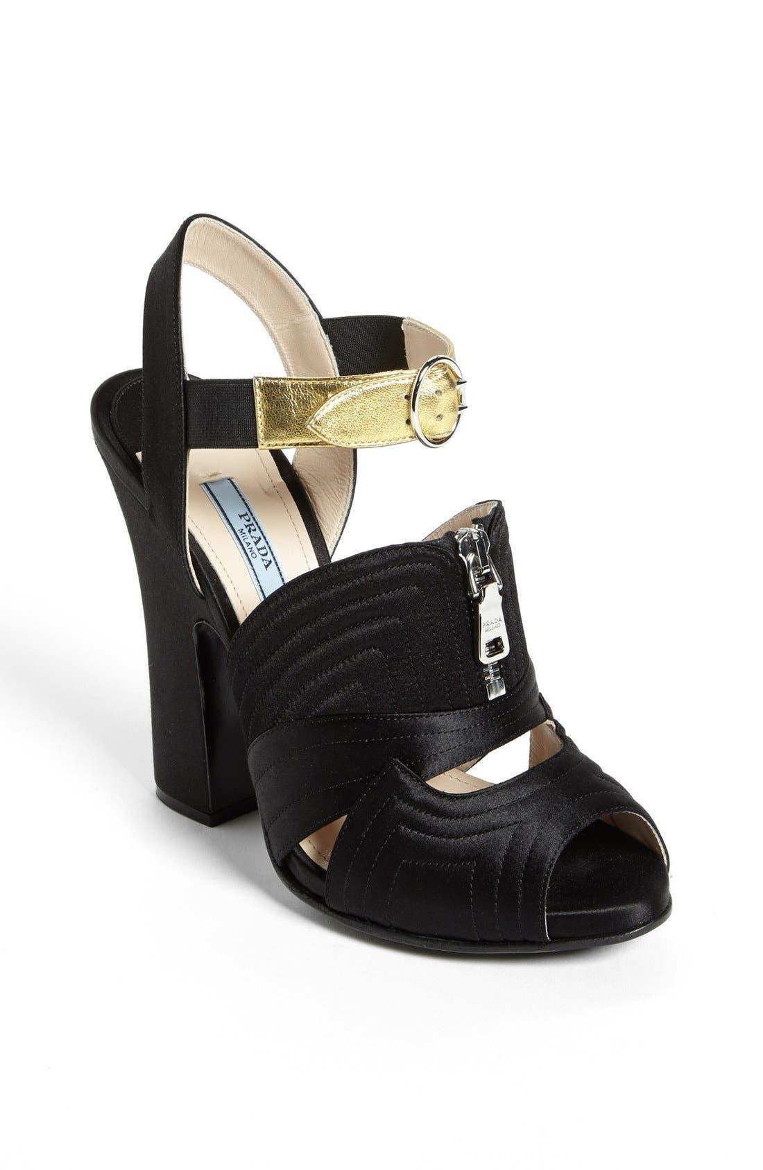 Alternate Image 1 Selected - Prada Quilted Zipper Sandal
