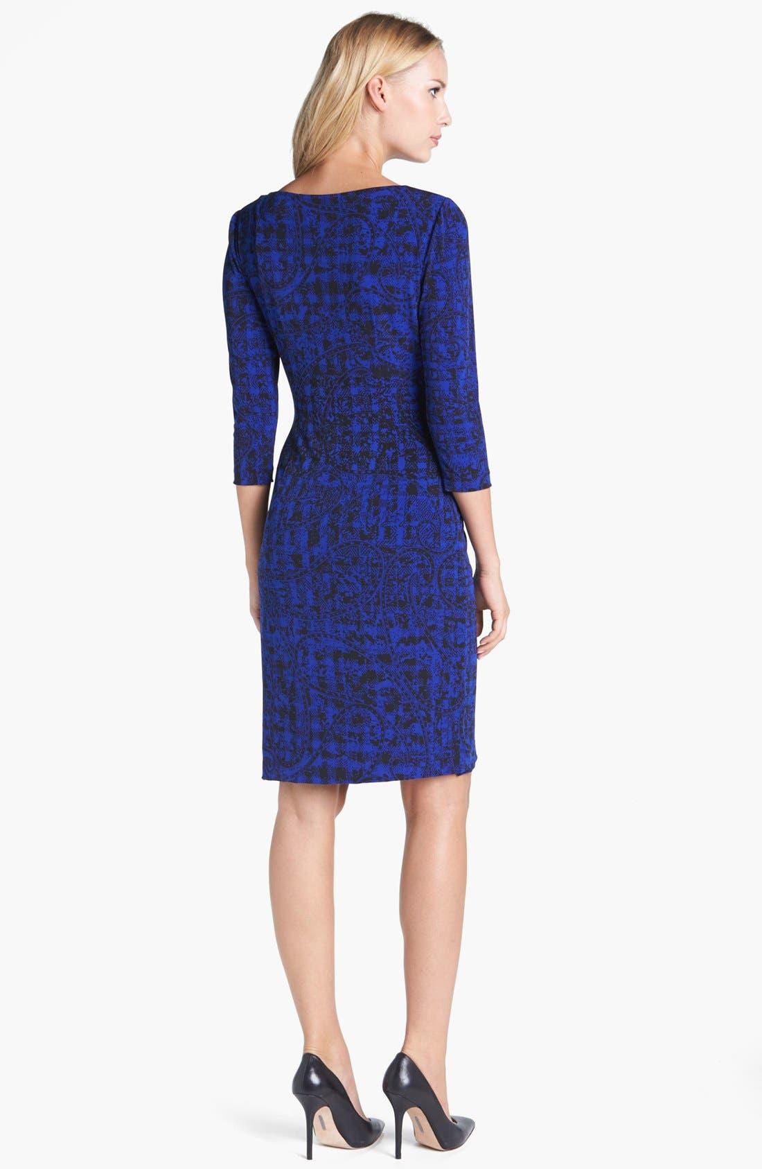 Alternate Image 2  - Tahari Print Jersey Faux Wrap Dress