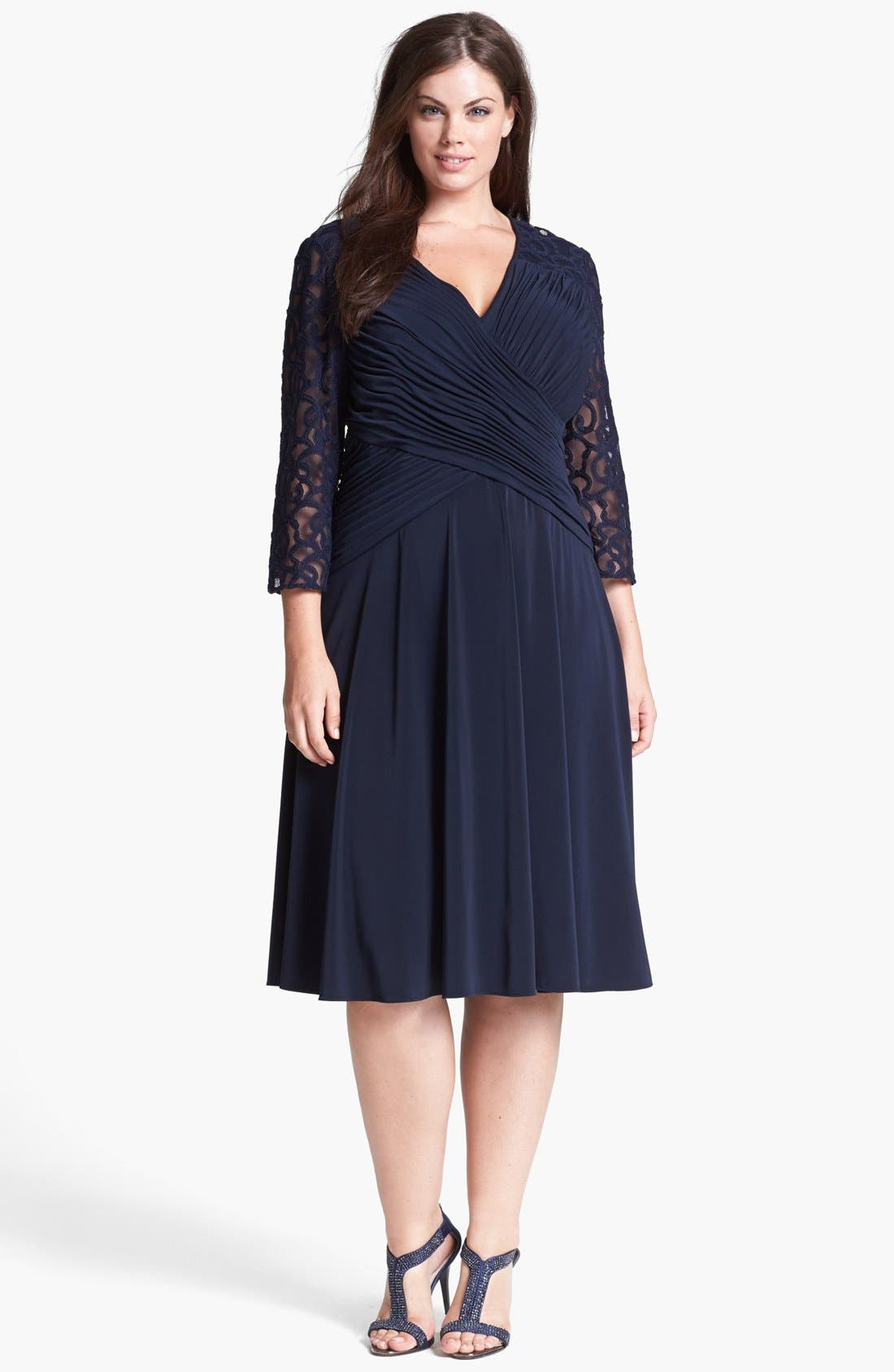 Alternate Image 1 Selected - Adrianna Papell Lace Detail Jersey Fit & Flare Dress (Plus Size)