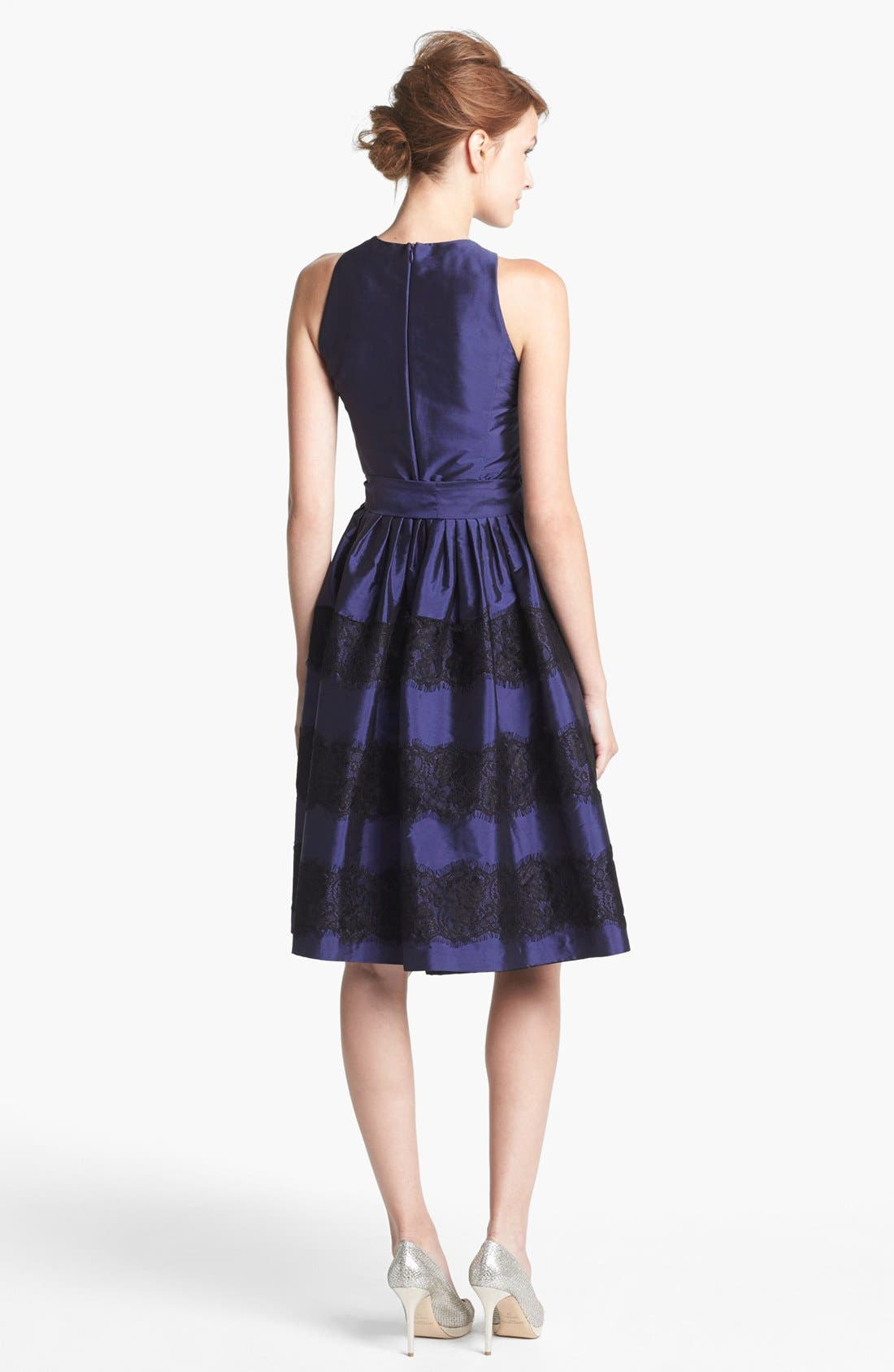 Alternate Image 2  - Isaac Mizrahi New York Lace Detail Taffeta Fit & Flare Dress
