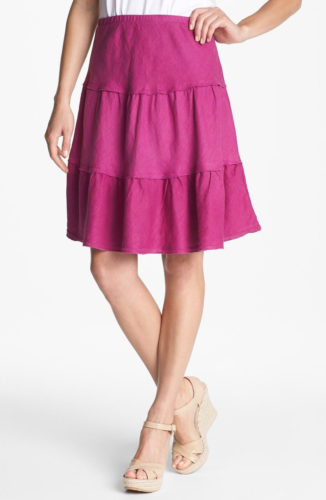 Main Image - Allen Allen Tiered Linen Skirt