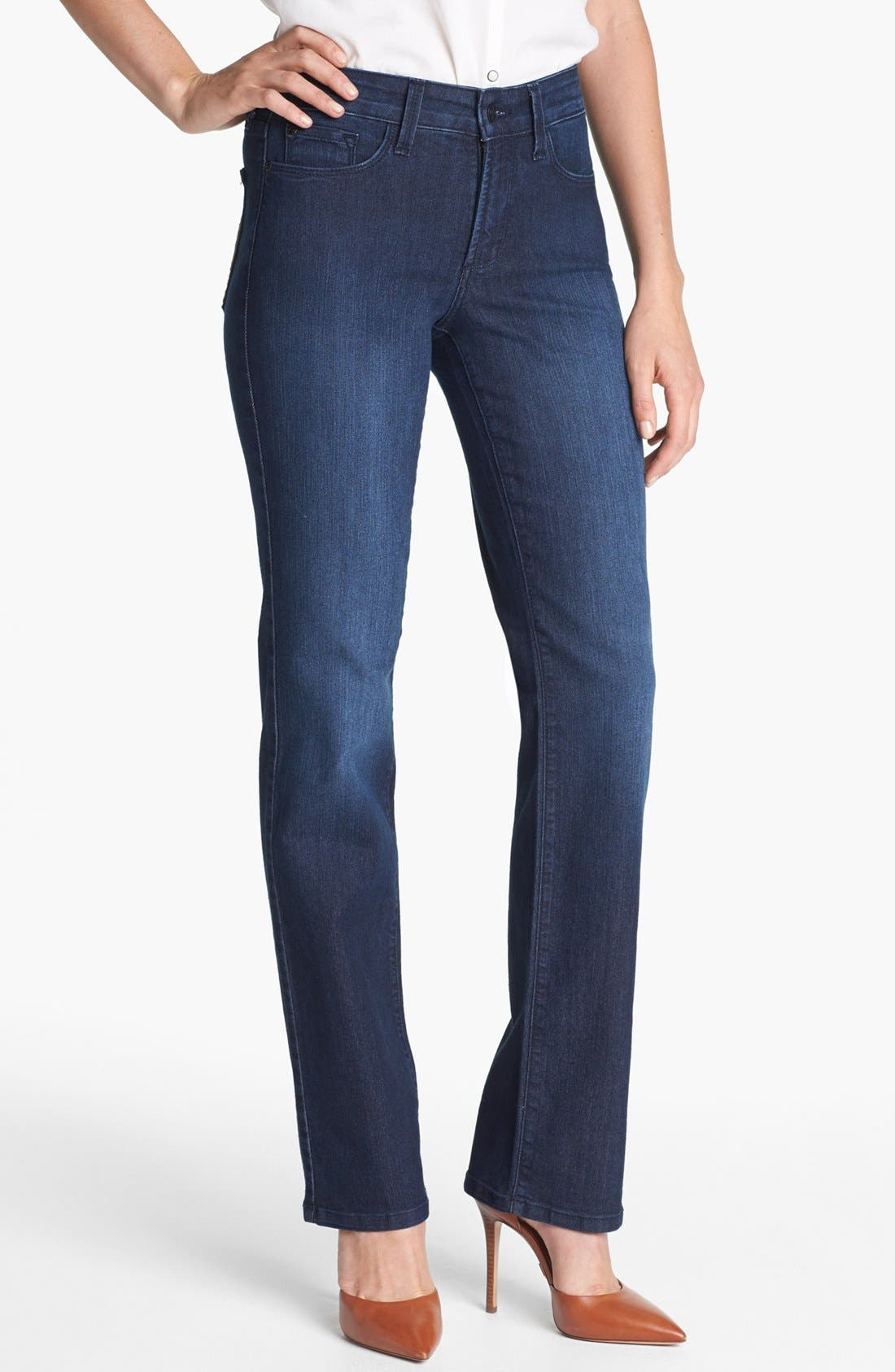 Alternate Image 1 Selected - NYDJ 'Marilyn' Stretch Straight Leg Jeans (Dana Point) (Petite)