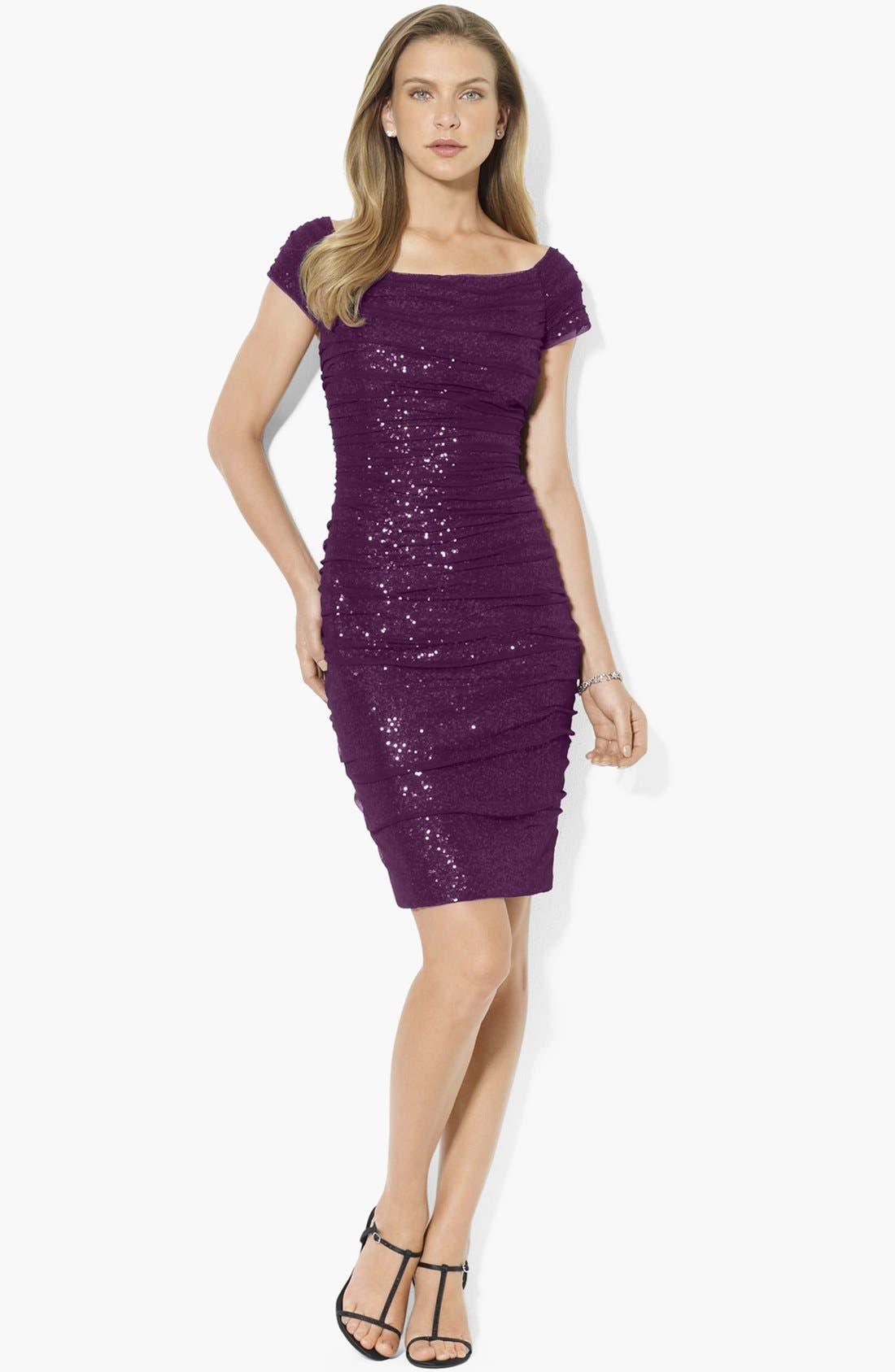 Main Image - Lauren Ralph Lauren Sequin Off Shoulder Mesh Sheath Dress (Regular & Petite)