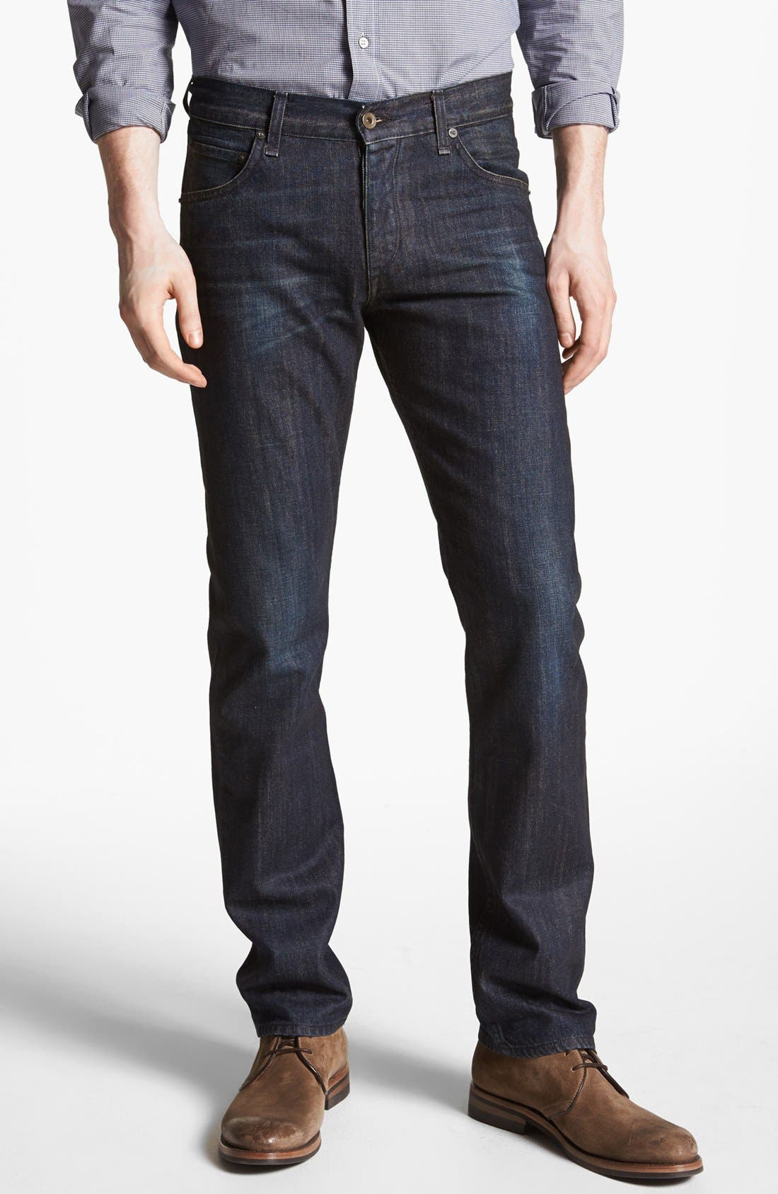 Alternate Image 1 Selected - rag & bone 'RB15X' Slim Straight Leg Jeans (Indigo Flint)