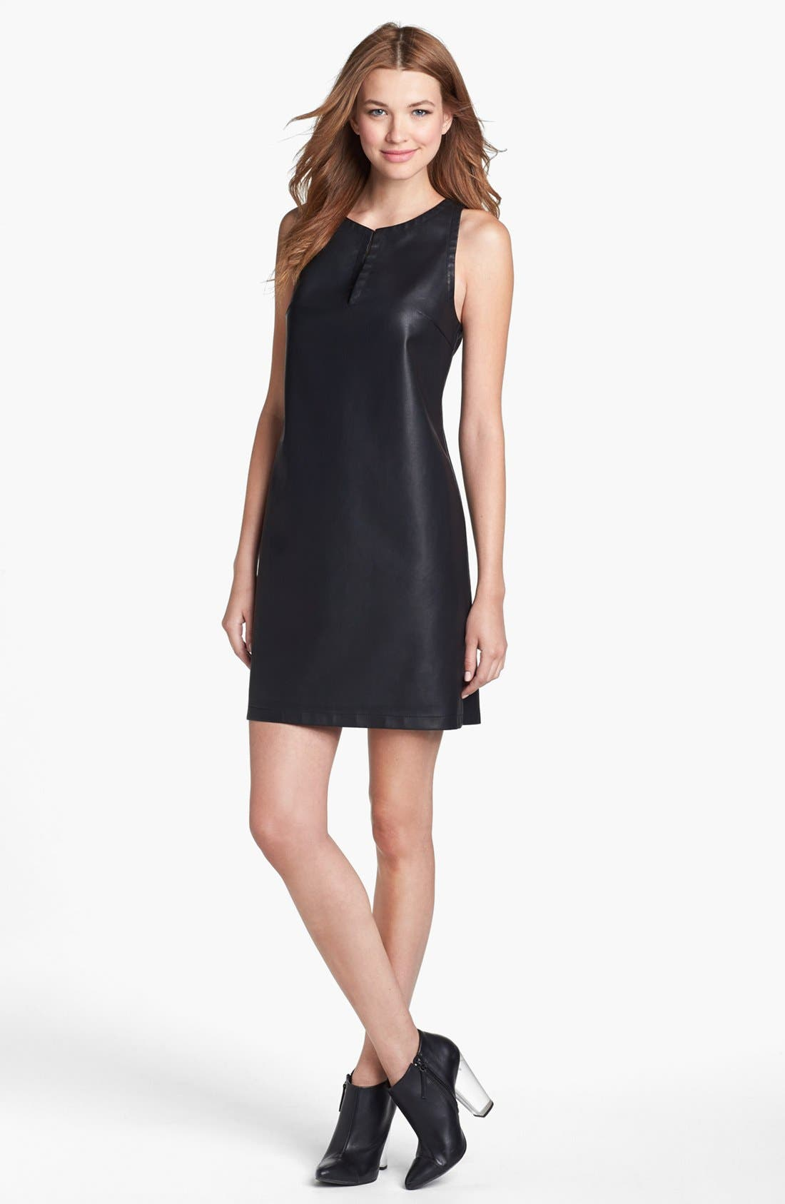 Main Image - BB Dakota Faux Leather Shift Dress