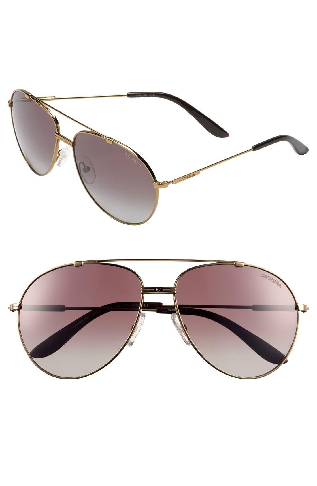 Alternate Image 1 Selected - Carrera Eyewear 60mm Polarized Aviator Sunglasses