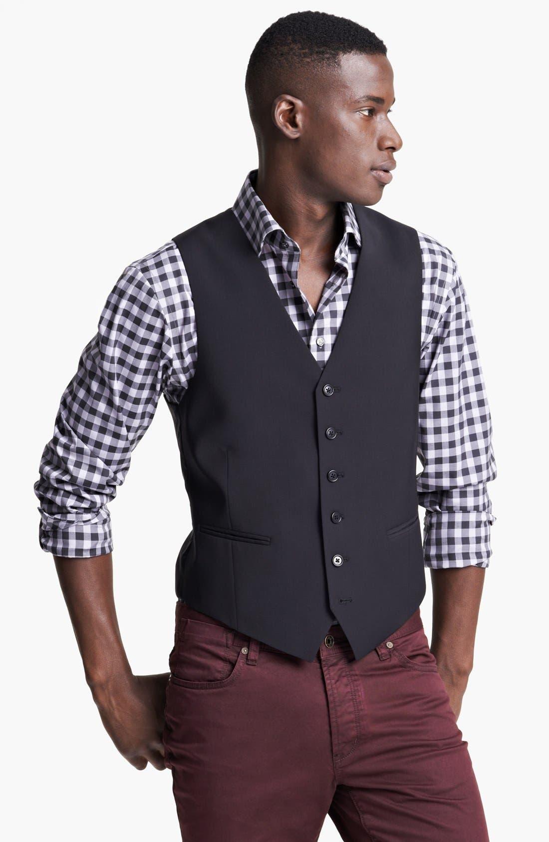Alternate Image 1 Selected - John Varvatos Star USA 'Pitt' Trim Fit Wool Vest