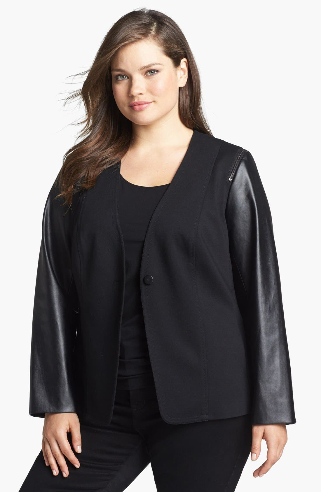 Alternate Image 1 Selected - Vince Camuto Faux Leather & Knit Jacket (Plus Size)