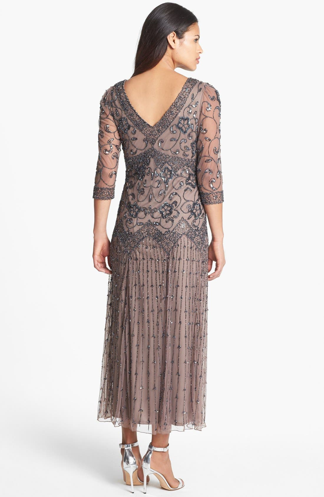 Alternate Image 2  - Pisarro Nights Beaded Mesh Dress (Regular & Petite)