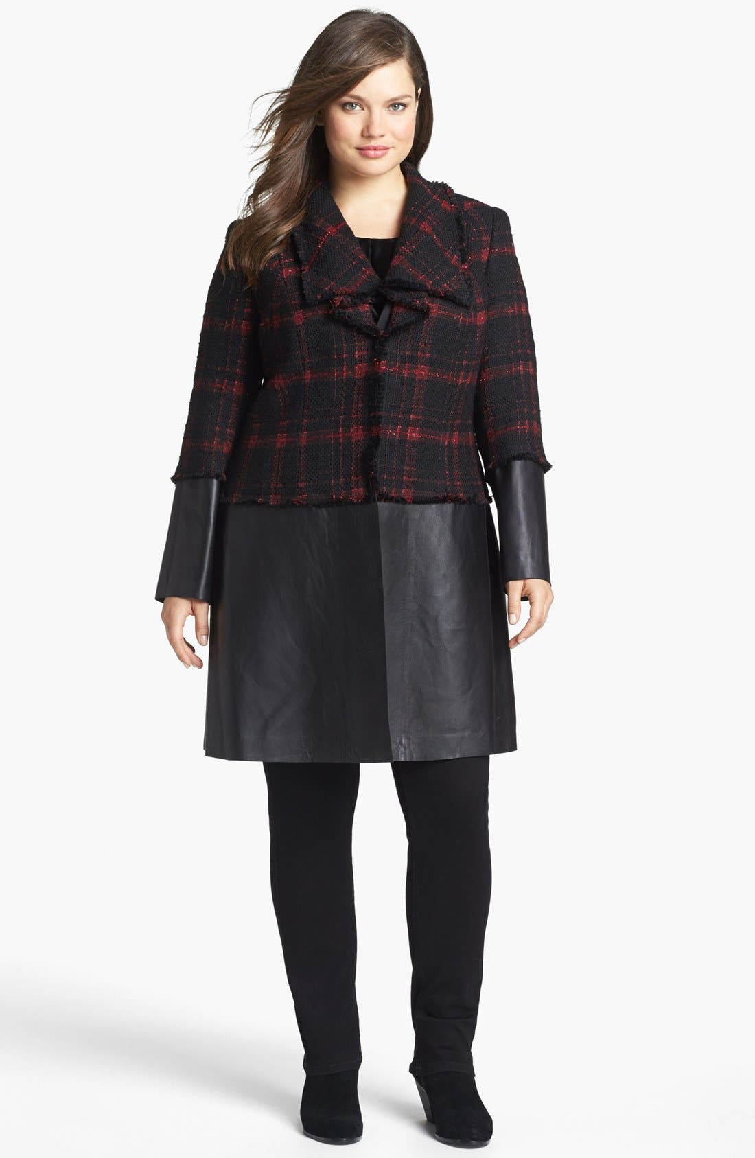 Main Image - Lafayette 148 New York 'Cecille' Plaid Tweed & Leather Coat (Plus Size)