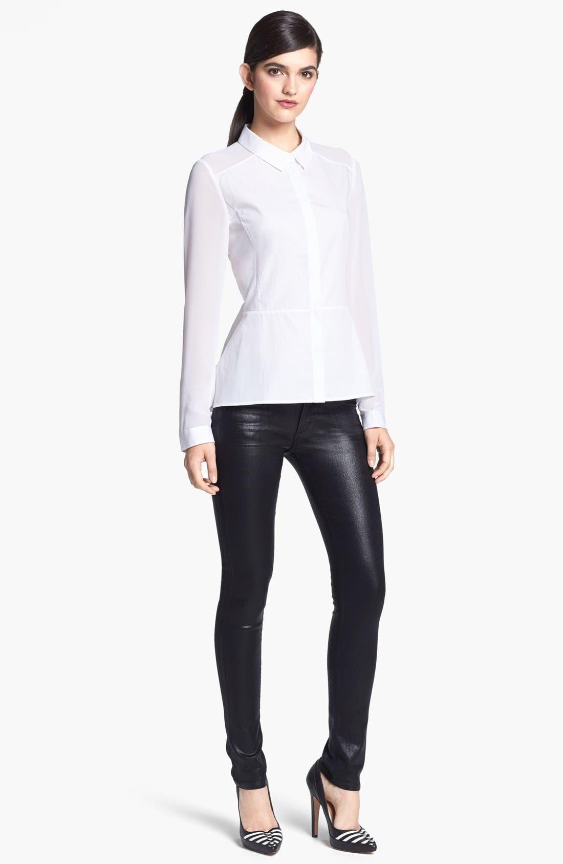 Main Image - Trouvé Sheer Mixed Media Peplum Shirt