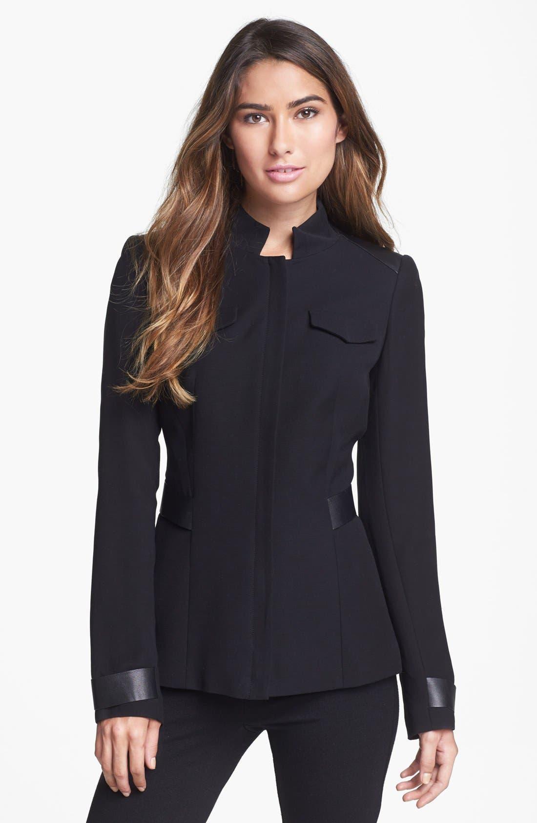 Main Image - Lafayette 148 New York 'Wanda' Leather Trim Jacket