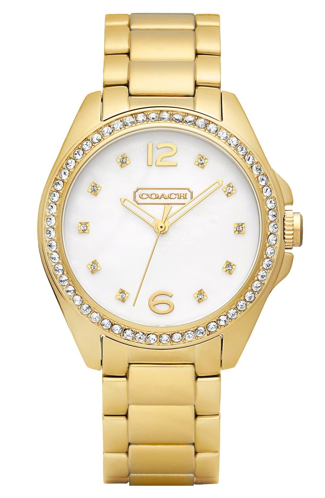 Main Image - COACH 'Tristen' Crystal Bezel Bracelet Watch, 37mm