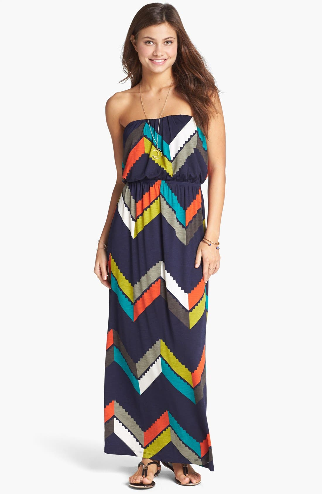 Main Image - Trixxi Chevron Print Maxi Dress (Juniors)