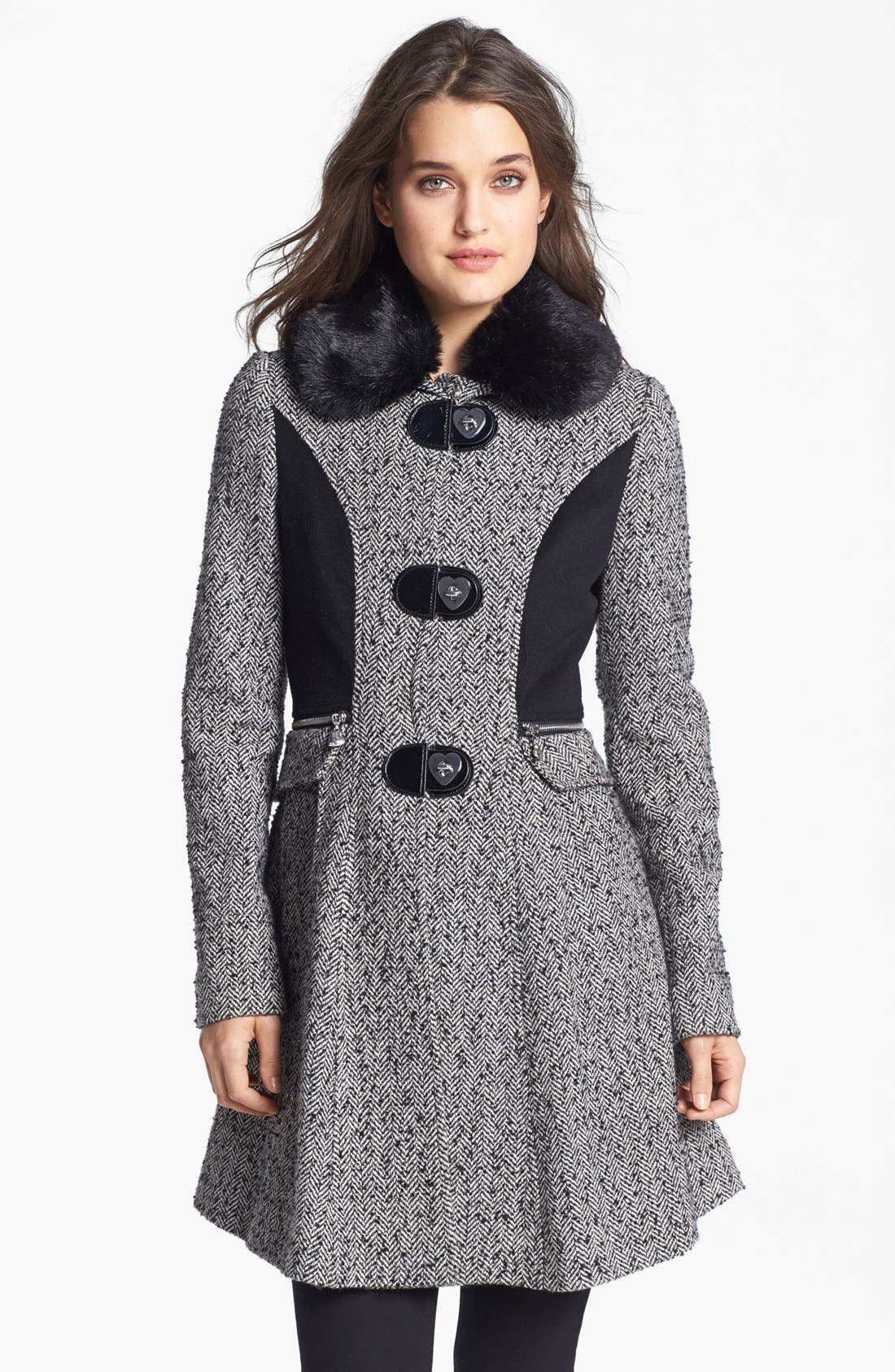Alternate Image 1 Selected - Betsey Johnson Faux Fur Collar Tweed Coat