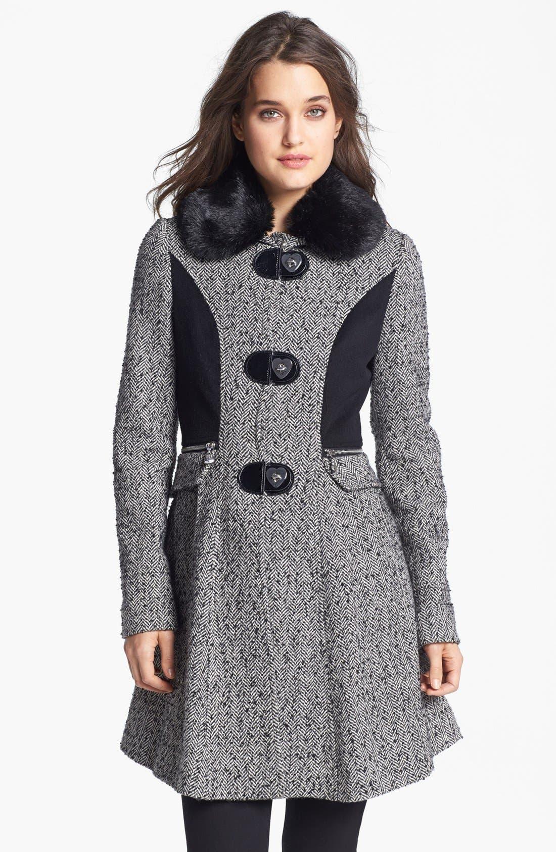 Main Image - Betsey Johnson Faux Fur Collar Tweed Coat