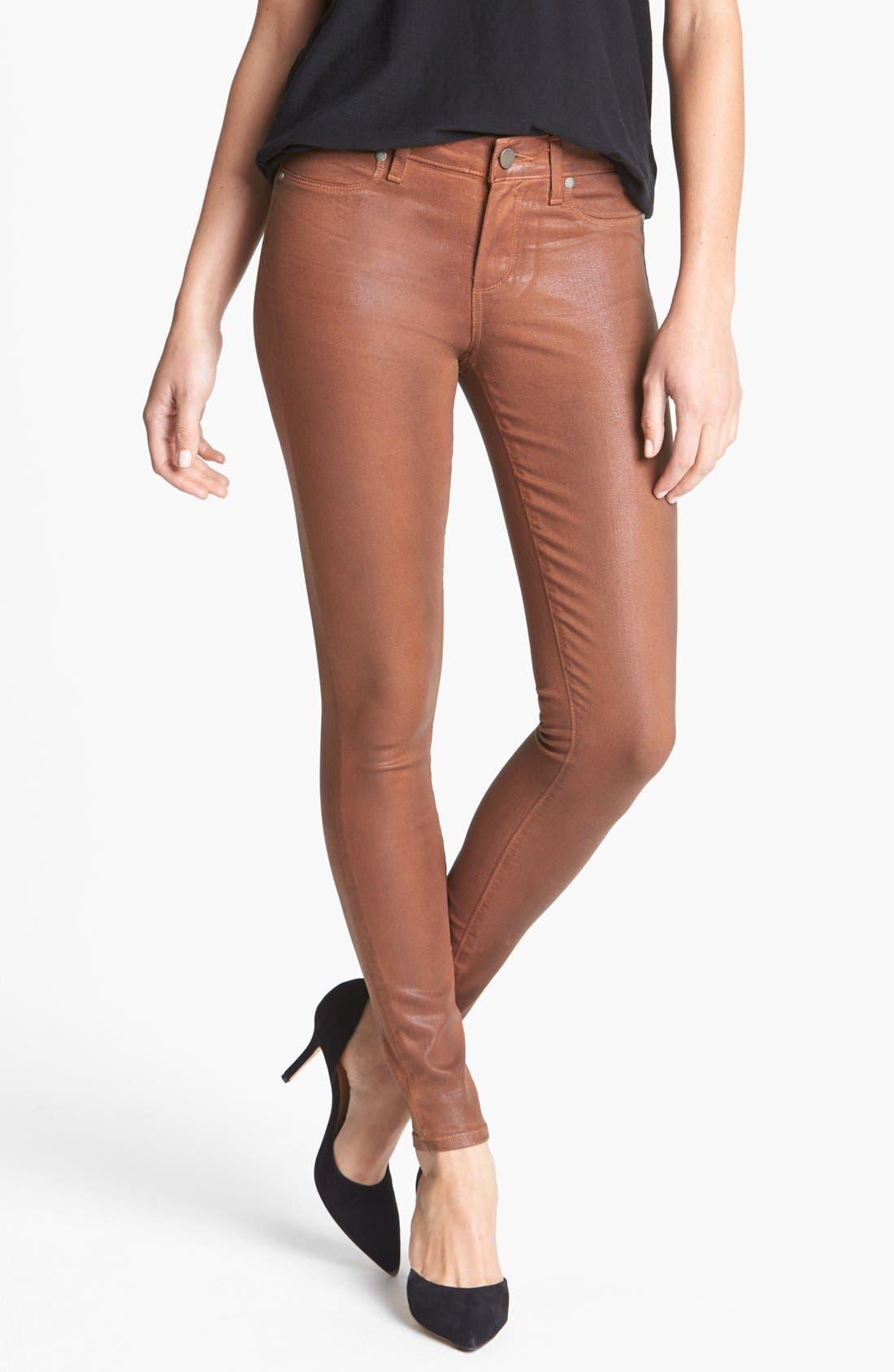 Alternate Image 1 Selected - Paige Denim 'Verdugo' Coated Ultra Skinny Jeans (Saddle)