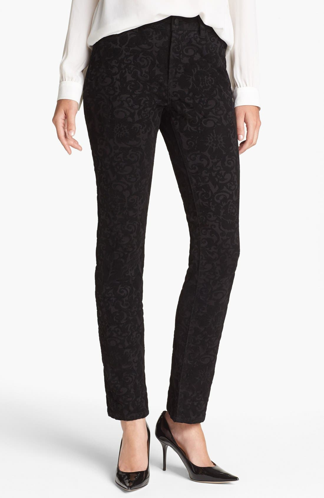 Main Image - NYDJ 'Sheri' Flocked Stretch Skinny Jeans