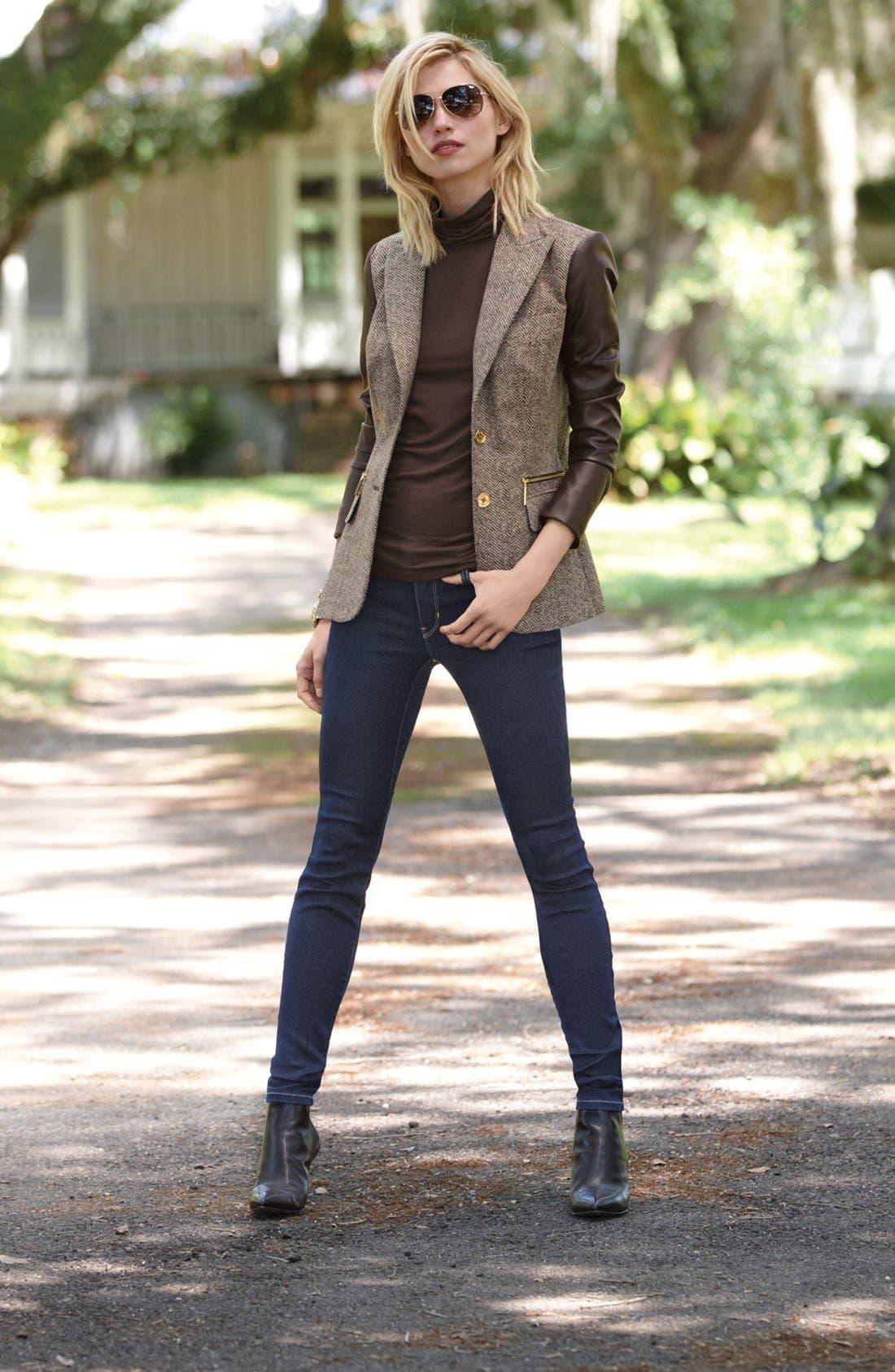 Alternate Image 5  - MICHAEL Michael Kors Faux Leather Sleeve Tweed Blazer