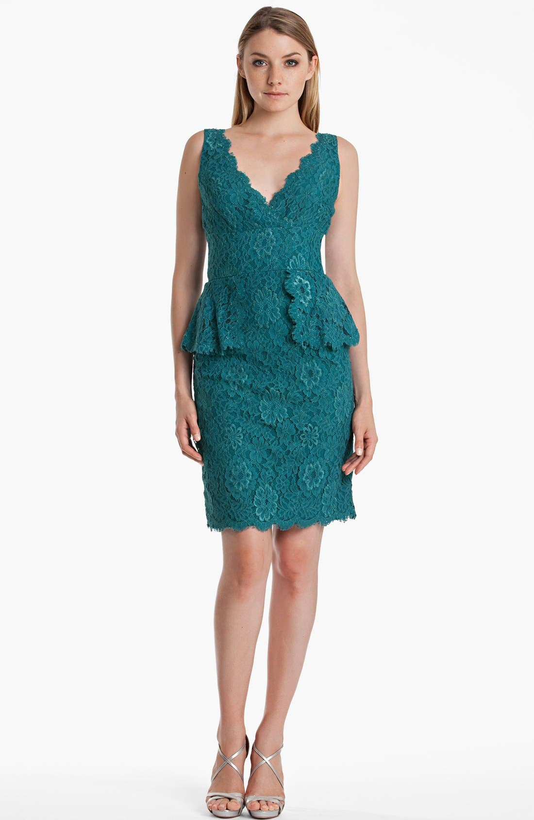 Main Image - JS Boutique Lace Peplum Sheath Dress