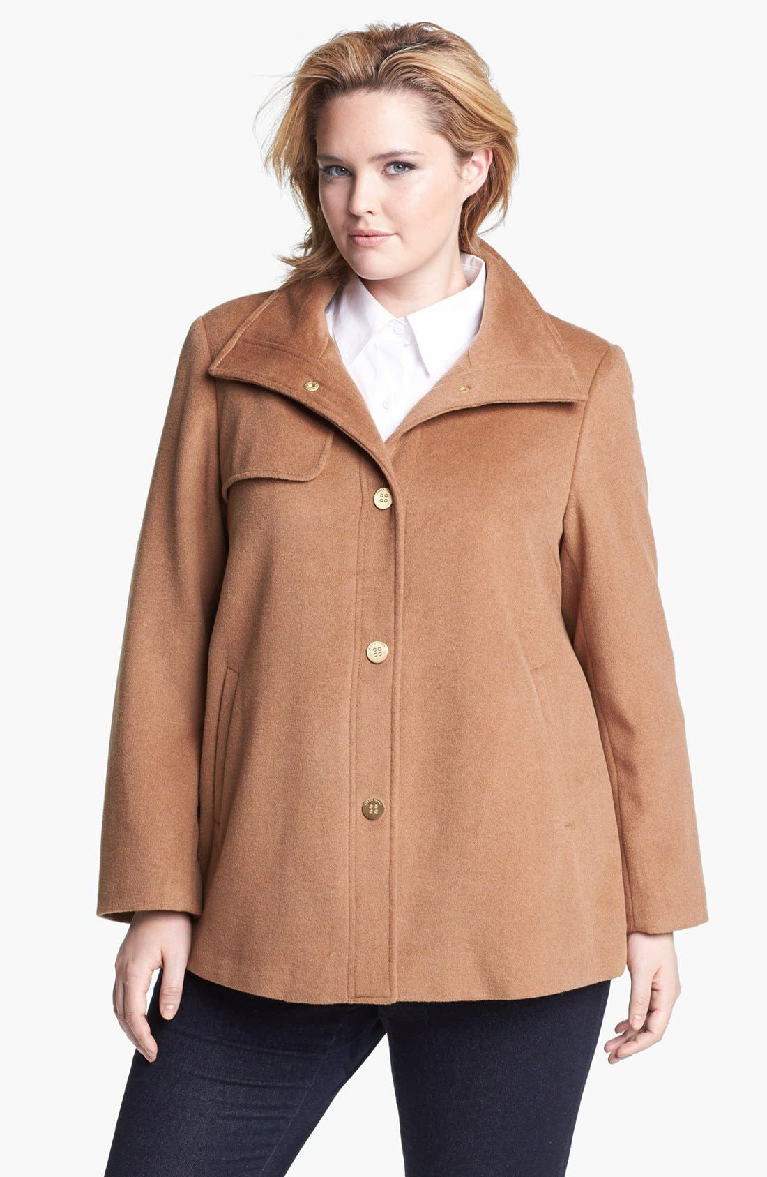 Alternate Image 1  - Ellen Tracy Wing Collar A-Line Wool Blend Coat (Plus Size)