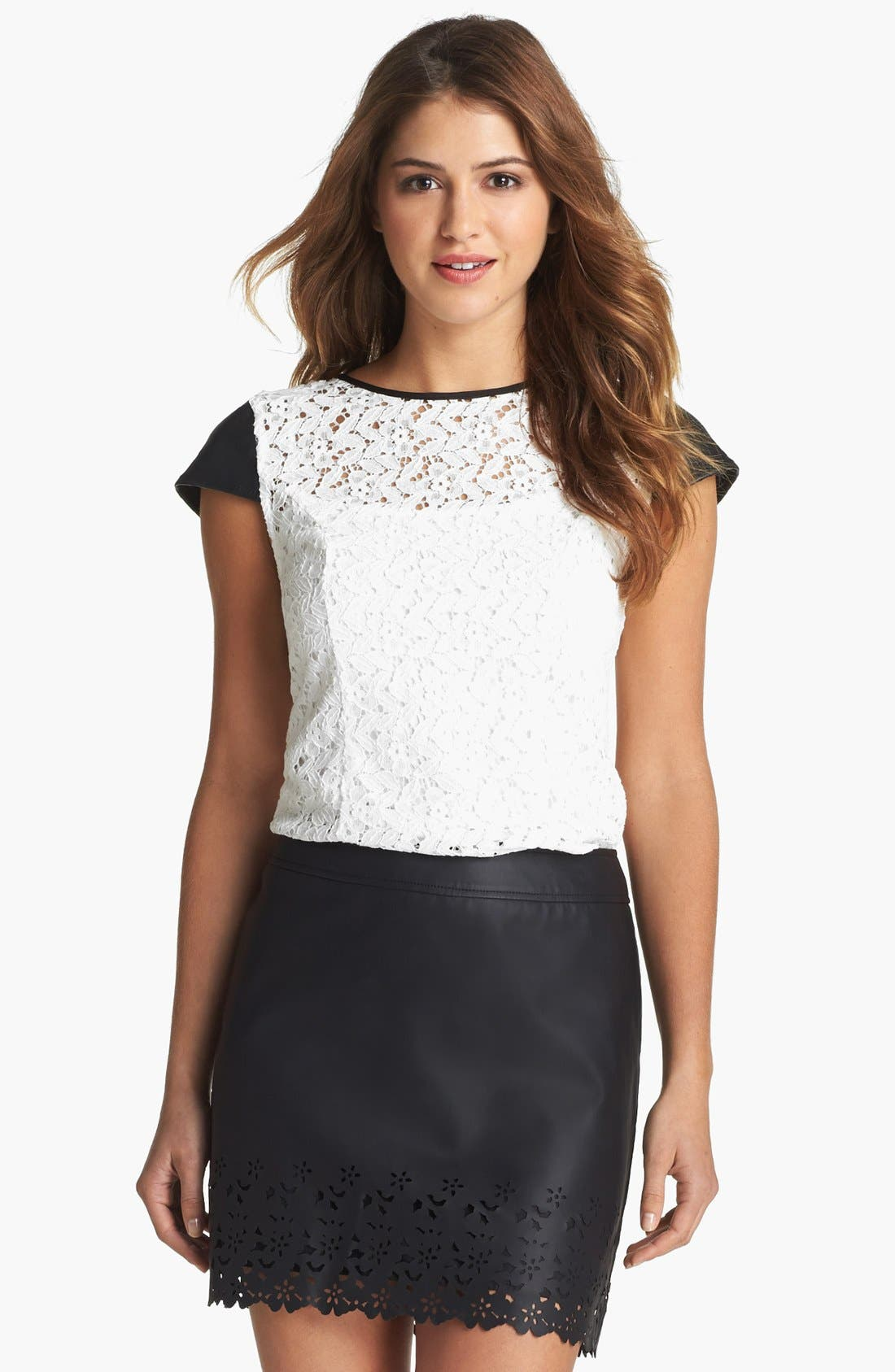 Alternate Image 2  - kensie Lace & Faux Leather Top