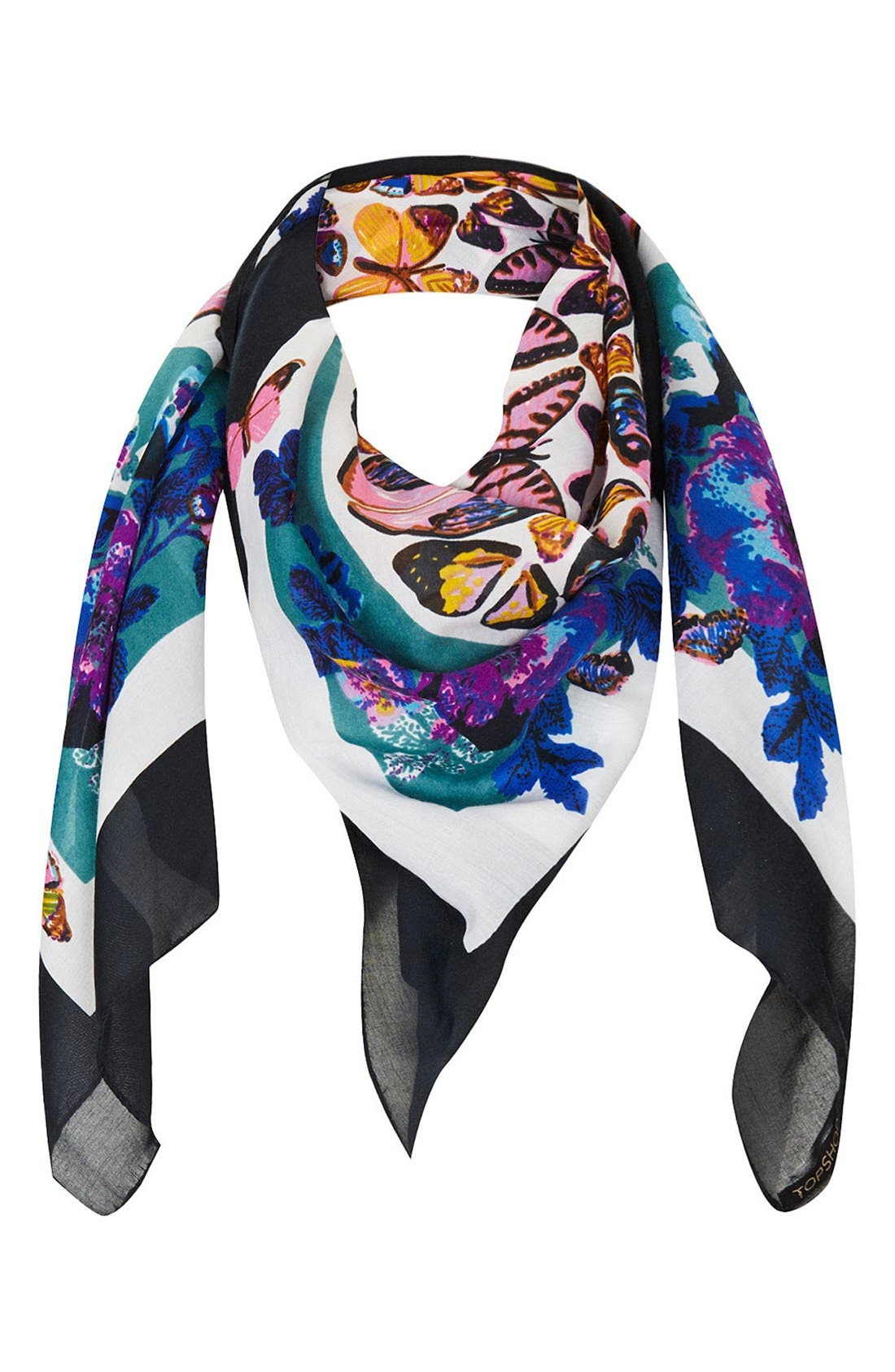 Alternate Image 1 Selected - Topshop Butterfly Print Square Scarf