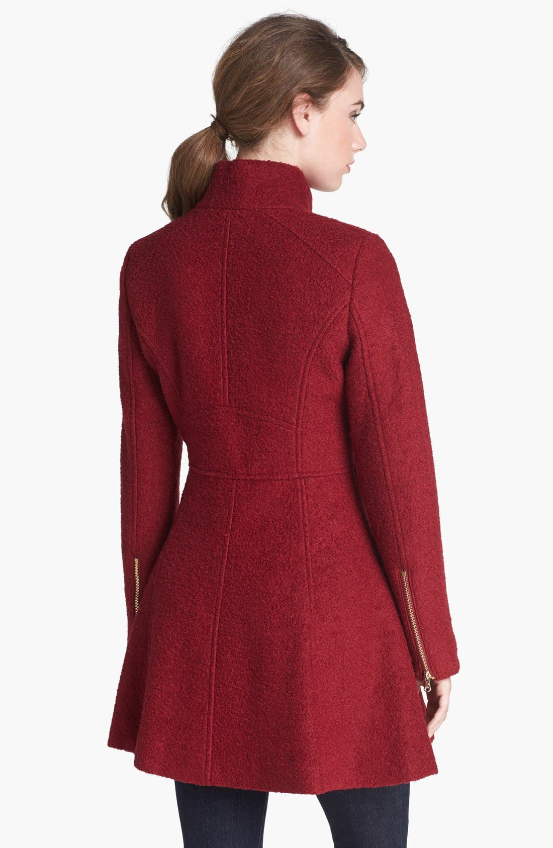 Alternate Image 2  - GUESS Fit & Flare Bouclé Military Coat (Online Only)