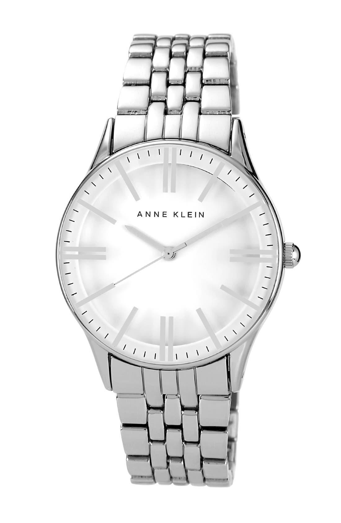 Alternate Image 1 Selected - Anne Klein Round Black Dial Bracelet Watch, 35mm