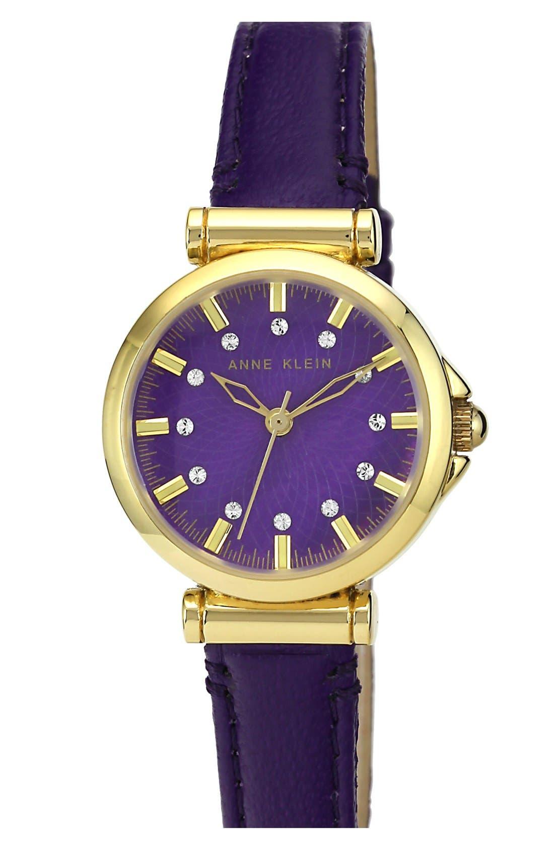Main Image - Anne Klein Crystal Index Leather Strap Watch, 28mm