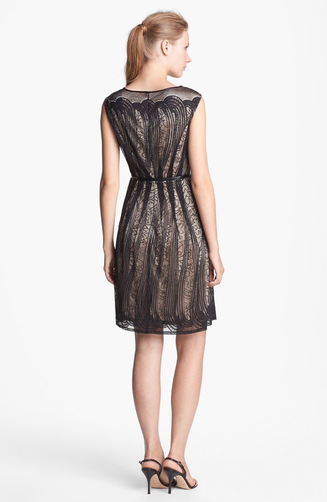 Alternate Image 2  - Adrianna Papell Pleated Lace Dress (Regular & Petite)