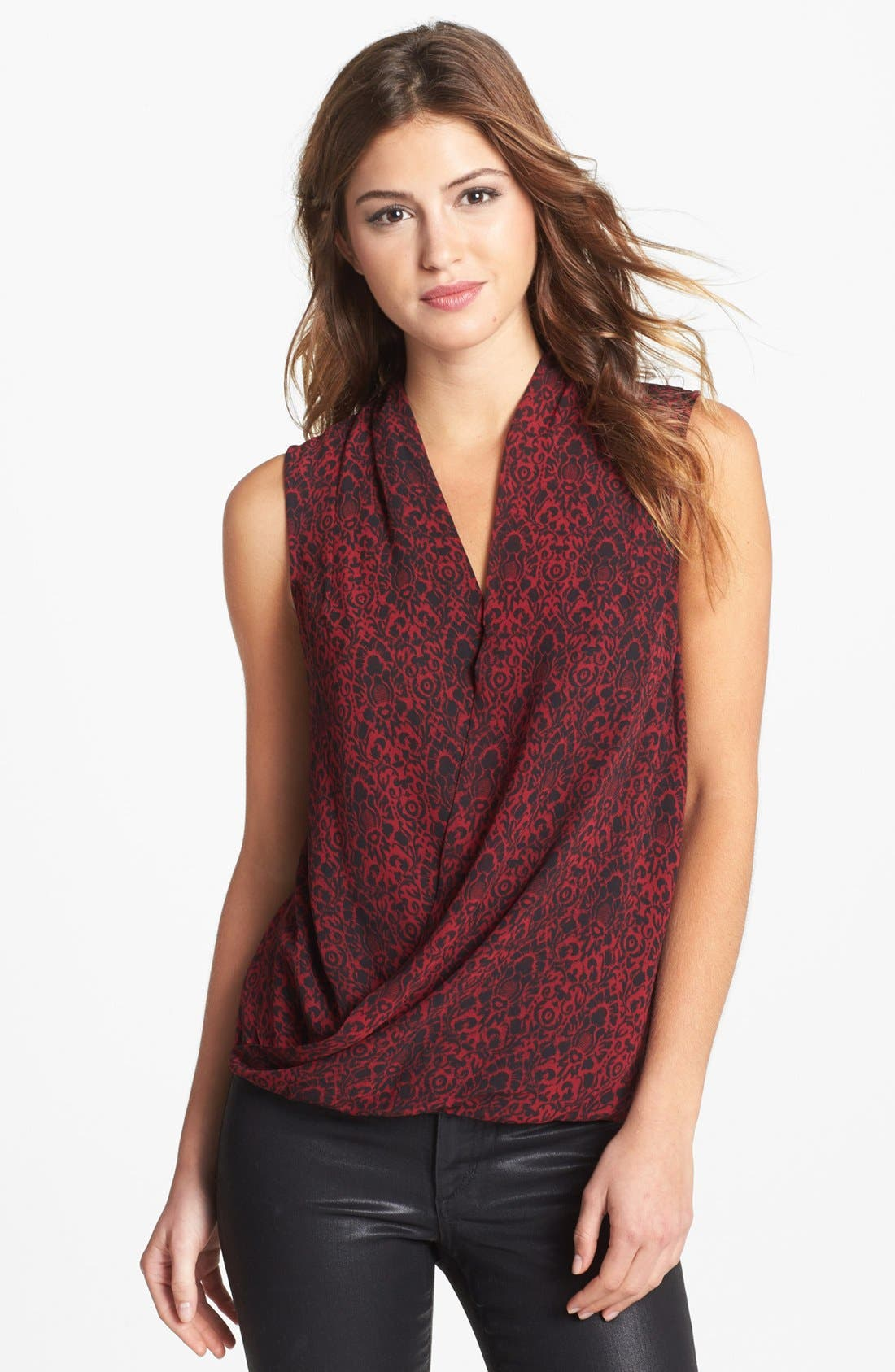 Main Image - Vince Camuto Sleeveless Faux Wrap Print Blouse (Online Only)
