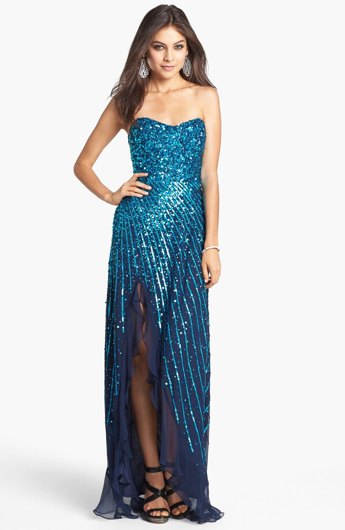 Main Image - Sean Collection Sequin Silk Chiffon Gown (Online Only)