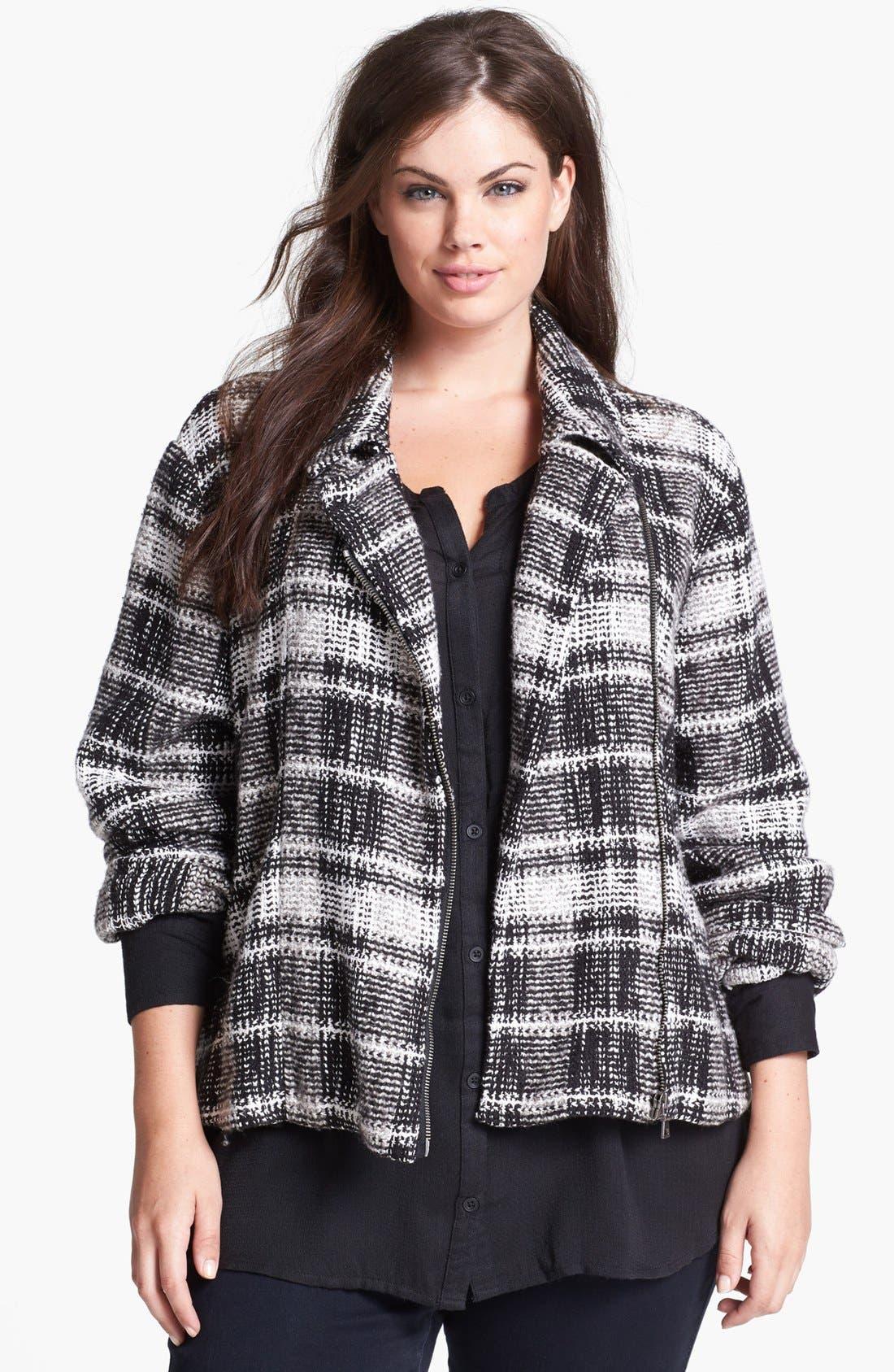 Alternate Image 1 Selected - Lucky Brand Plaid Moto Sweater Jacket (Plus Size)